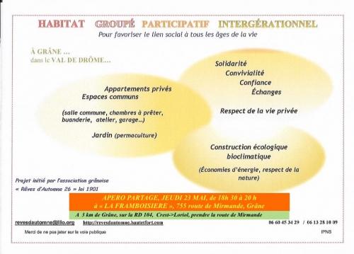habitat participatif drome grane 23 mai 2019,habitat participatif reves d'automne drome,habitat groupé 2019 drome